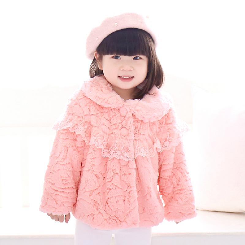 2015 Winter Baby Outerwear Clothes Girls Jacket Children Coat Faux Fur Fleece Children Coat Kids Apparels(China (Mainland))