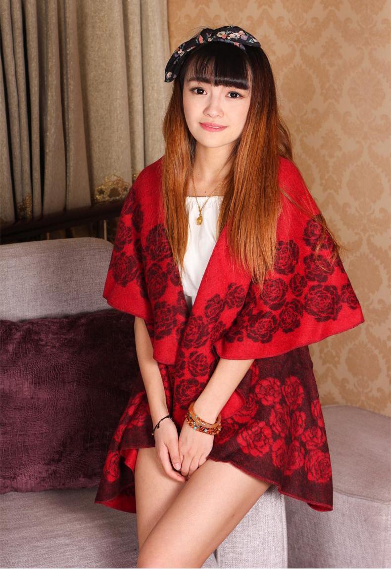 Free Shipping!New Arrival Autumn Winter Women's 100% Wool Circularity Jacquard Rose Shawl Scarf Wrap Warm WS2014-9(China (Mainland))