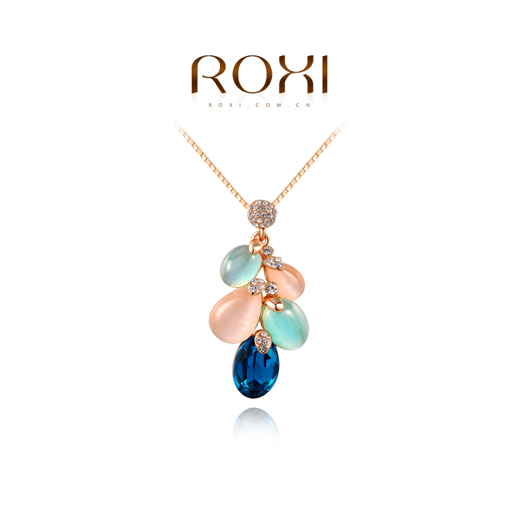 1PCS Free Shipping Rose White Gold Plated Colored opal feather shape necklace Jewelry wholesale