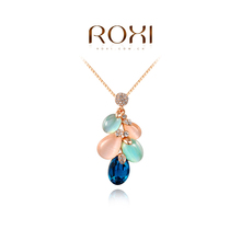 1PCS Free Shipping! Rose/White Gold Plated Colored opal feather shape necklace Jewelry wholesale