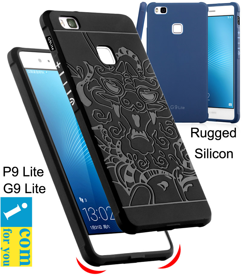 COCOSE Drop resistance Rugged Tough Armor Cover Case Huawei P9 Lite G9 Silicon Rubber 3D carved dragon Protector  -  Shenzhen icomforyou Co.,ltd Store store