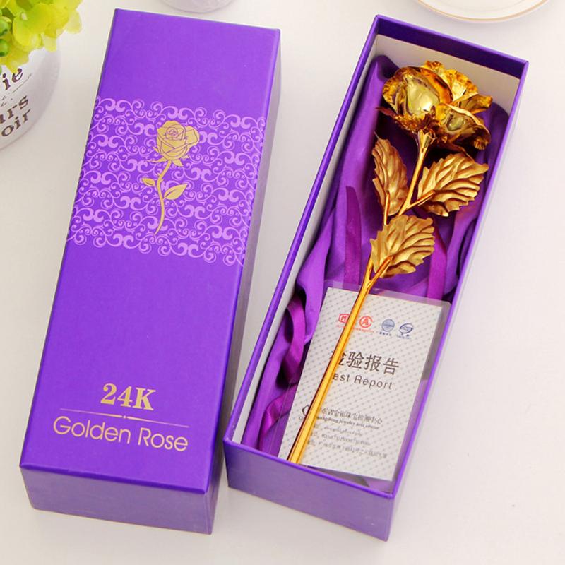 24k Gold Foil Rose Flower 25*8cm Handcraft Best Valentine's Day Gift For Lover, Golden Rose Gift Last Forever(China (Mainland))