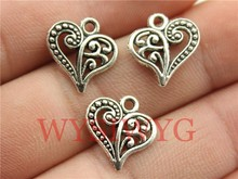 Wysiwyg 10 pcs 15 * 14 mm antique coeur en argent charms(China (Mainland))