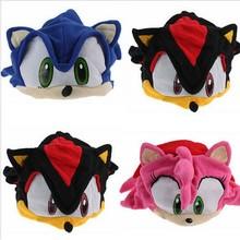 New 1 PCS Sonic X FS Sonic The Hedgehog Fleece Cosplay Cap Anime Beanie Plush Hat Costumes Black Blue Pink Approx 16cm/6″