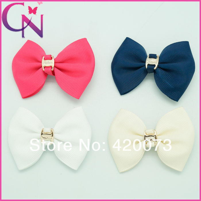 Vintage 2.5 '' Hair Bows For Girls,Mini 4 Color Grosgrain Ribbon Hair Accessories,Hot Sale Solid Baby Hair Clip With Ornament(China (Mainland))
