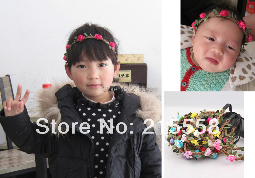Bohemian Baby Flower Headband Child Girl Kids Floral Garland Hair Band Headwear Hair Accessories for Children Wholesale H131(China (Mainland))