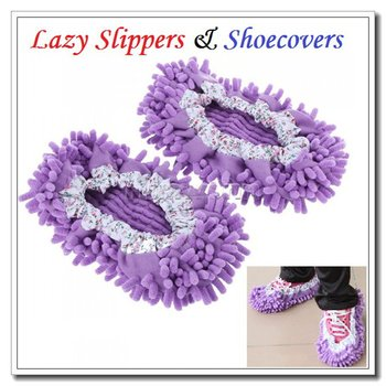 High quality Chenille Mopping Shoecovers Floor Dust Cleaner Cleaning Lazy Slippers 3 Colors Choice , Dropshipping