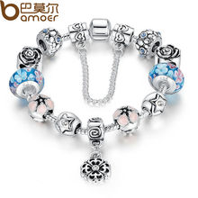Bracelets & Bangles European Silver Plated Glass Beads Bracelet Femme With Security Chain Luxurious Strand Bracelets Jewellery P1833