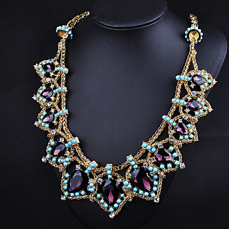 NEW design fashion water drop crystal gold chain necklace bead charm statement accesories women 2015 free shipping(China (Mainland))