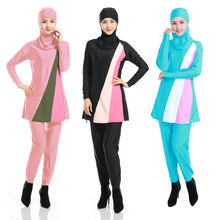 2017 Hot sale Full Cover Up Modest Muslim Swimwear For Womens Conservative Long Sleeve Islamic Swimsuit Bathing Suit Size S-4XL(China (Mainland))