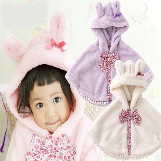 Зимние 0-2Y Детские Цветочные Двусторонний Плащ с Hat KId вне Одежда Детские причинные топ Толщиной Плащ Новый год Рождество мыс