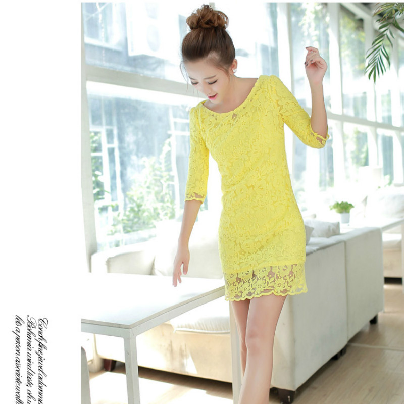 Summer Fashion Women Dress Pure Color Solid O-neck Dress Chiffon Party Evening Club Casual Lace Dress pink yellow Plus Size S-XL(China (Mainland))