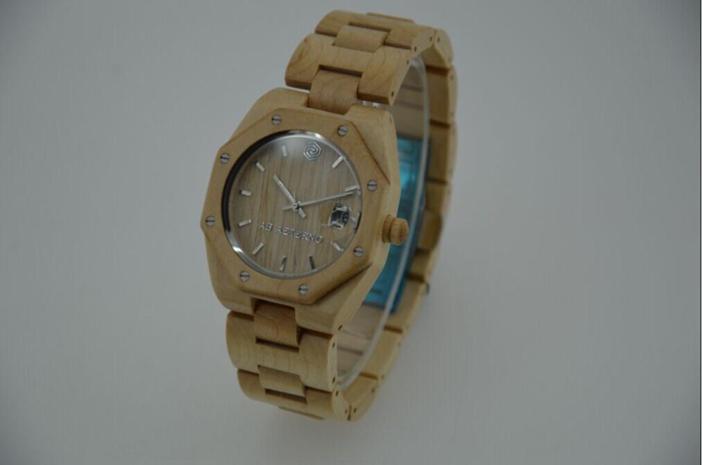 Brand New Purely Handmade Unisex Wood Watch High Quality Switzerland 515 Movement Auto Date Wooden Wristwatch Free/Drop Shipping(China (Mainland))