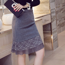 Women Skirt 2016 Fall Korean Elegant Ladies Vintage Lace Patchwork High Waist Gray Black Pencil Midi Skirt Plus Size S-5XL 3058