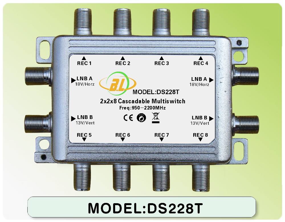 Satellite multiswitch DS228T (Can be used alone can or in a cascade)Connect the LNB and the receiver 2 SATV for 8 users(China (Mainland))