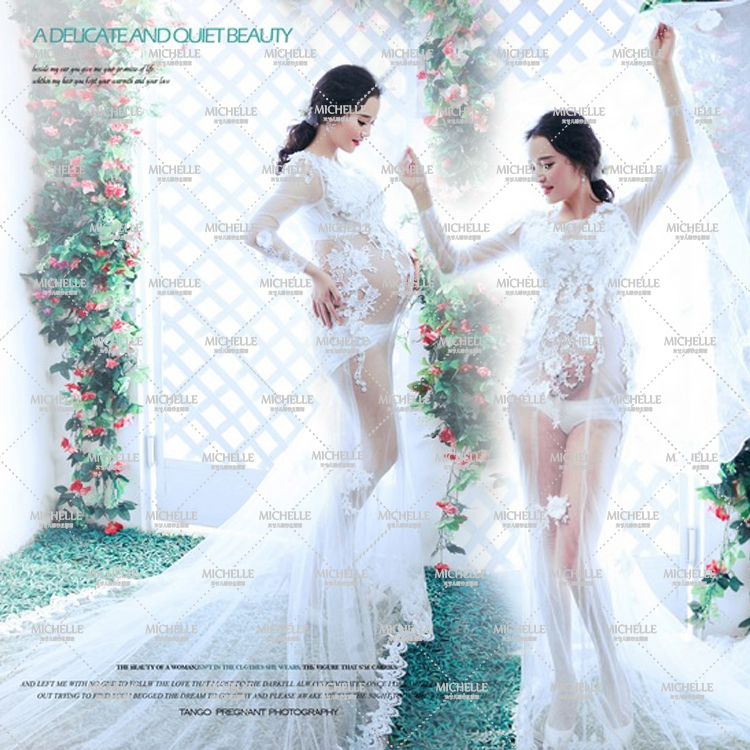 Maternity Photography Props Pregnant Women Noble White Gauze Long Hem Trailing Lace Dress Photo Shoot  Fancy costume