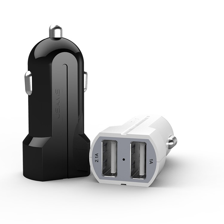 USAMS Dual USB Port 2.1A+1A Car Charger for apple iphone 6 6s Plus SE 5 5c 5s 4 4s ipad Samsung htc huawei lenovo sony xiaomi lg(China (Mainland))