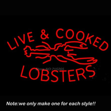 Red Live And Cooked Lobsters Neon Sign Recreation Room Handcraft Neon Bulbs Real Glass Tube Store Display Beer Bar Pub Gift24x18(China (Mainland))