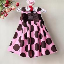 Retail Brand Girls Summer Dress Brown Dot with Hot Pink Children's pricess Dresses for 6M to 4T  Free shipping(China (Mainland))
