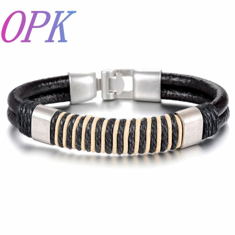 OPK Black Handmade Leather Man Bracelets Fashion Charm Anchor Design Clasp bracelet Jewelry Cheap Price Accessories PH863(China (Mainland))
