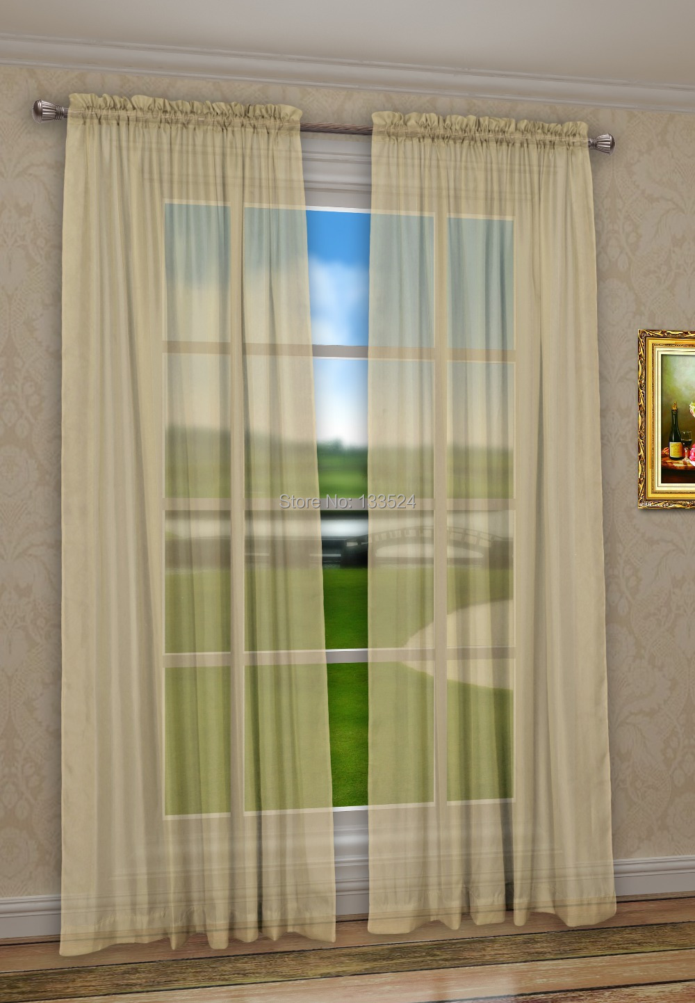 Sheer yellow curtains - Panel Voile Sheer Sheers Solid Color Sand Yellow 60 X 45 In Curtains