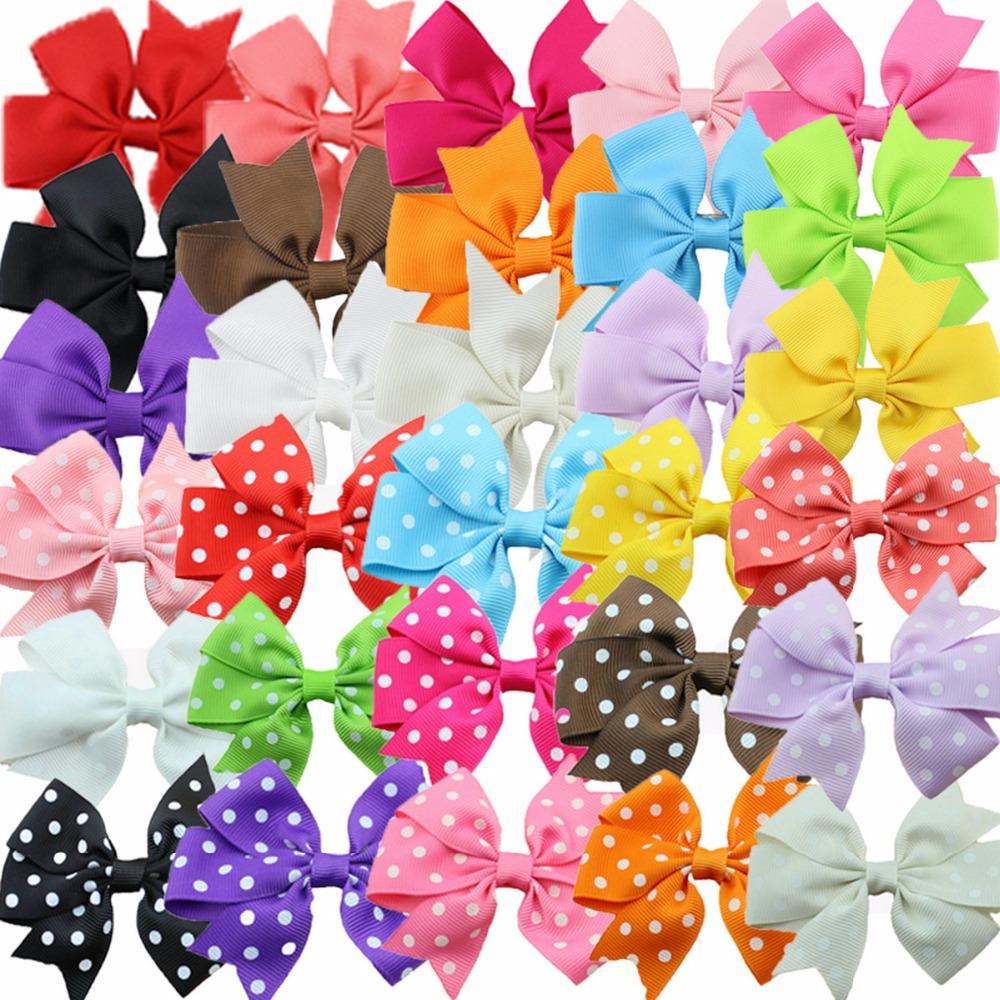 30pcs/pack baby girl ribbon bow hair clips dot and solid mixed kids hair ribbon bow hair accessories(China (Mainland))