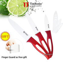 "Timhome Brand Cooking Tools Ceramic Knife Kitchen Knives set 5"" Utility Knife 4""peeling 3""paring with Finger Guard Gift(China (Mainland))"