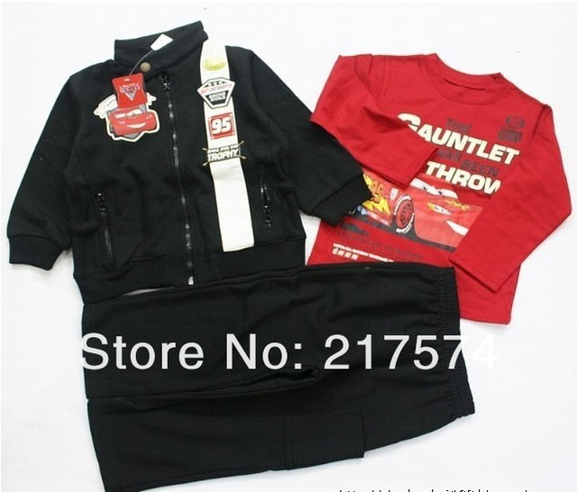 In Stock New Arrival 8sets/lot 2013 Winter Baby Boys Long sleeves Car Cartoon Suits  1 Jacket + 1 Shirt+1 Pant Free shipping