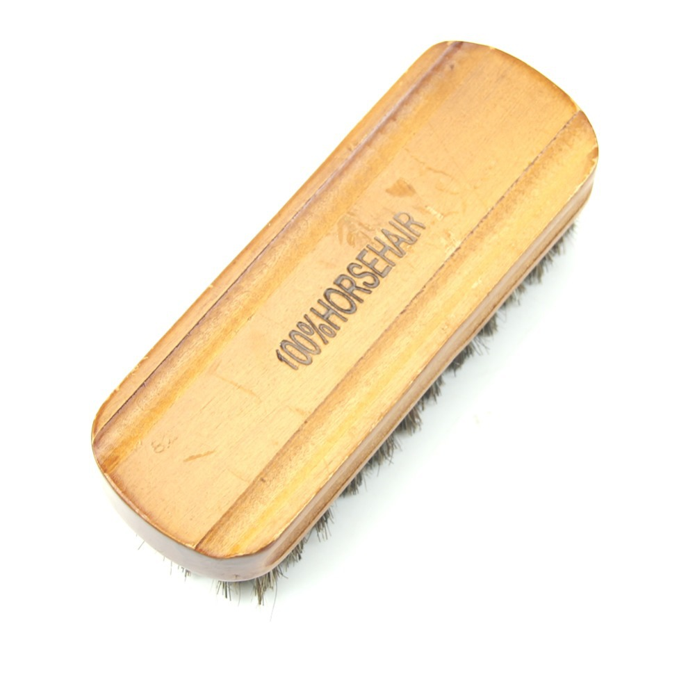 free shipping Middle Wood Horse Hair Bristles Shoe Polish Buffing Brush Boot Care Clean Wax(China (Mainland))