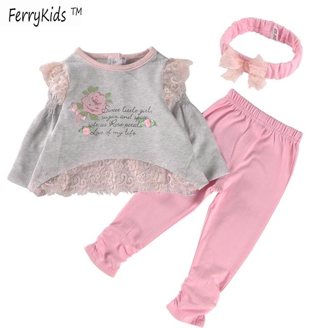 Длинную одежду рукав девочка установить хлопкового кружева девочка одежда комплект ...