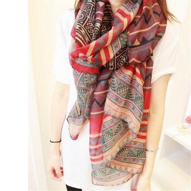 2016 новинка модный богемских женщин длинная печать шарфа шаль повелительниц девушка большой довольно шарф толе 6 стилей Cai0624