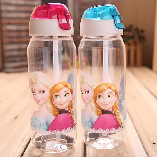 RETAIL FROZEN plastic water bottle kids cartoon drinkware children straw cups cute cup tea kettle gift a09(China (Mainland))