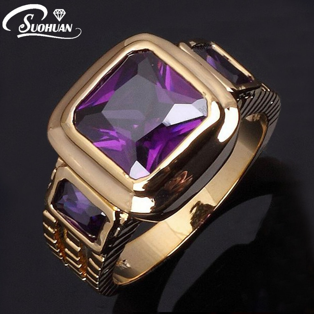 Wholesale male finger rings new Fashion Men's purple Amethyst Jewelry Cz 18K Yellow Gold Filled Ring for man size 8 to12 R048(China (Mainland))