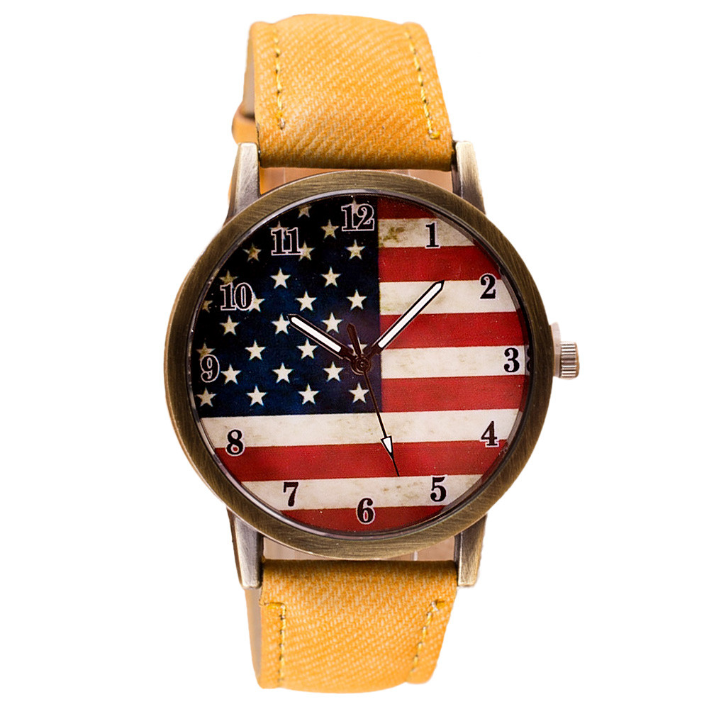 Best seller free shipping American Flag pattern Leather Band Analog Quartz Vogue Wrist Watches relogio masculino May27(China (Mainland))