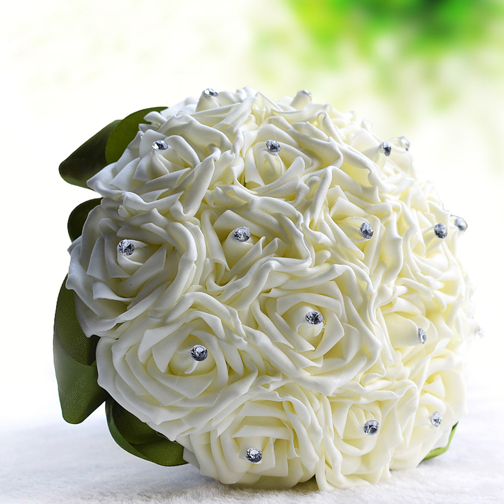 Beautiful Artificial Flower Ivory Rose Luxury Crystal Salable with Artificial Rhinestone Fake Flower Wedding Decoration(China (Mainland))