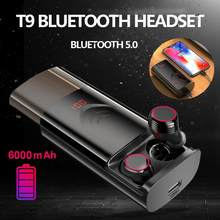 Bluetooth 5.0 T9 TWS Wireless Earphone Stereo HIFI Noise Reduction Earpbuds With 6000mAh Charging Case Waterproof Sports Headset(China)