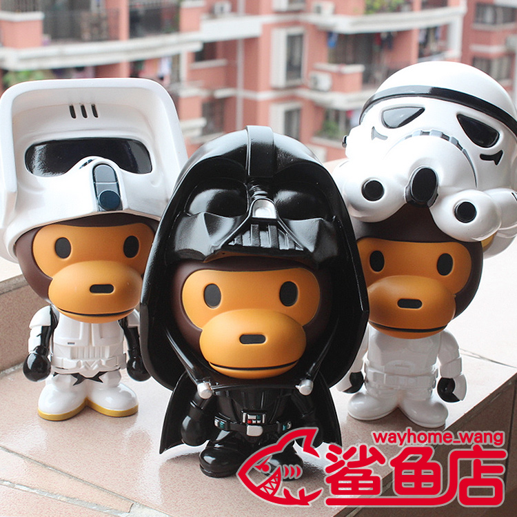 Bape Star wars Vinyl Dolls Baby Milo Aape Original Fake kaws robot Action Toy Figure diy kawaii hip hop anime 20cm box - Guangdong Sky Clothing Co., Ltd store