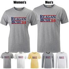 REAGAN BUSH`84 political election funny 80's retro Republican Printed T-Shirt Women's Girl's Graphic Tee Tops