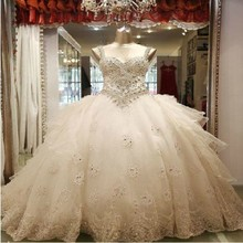 Unbelievable Luxury Crystal Beading Wedding Dresses 2015 Sweetheart Cathedral Train A-line Bridal Gown Wedding Dress VERNASSA(China (Mainland))