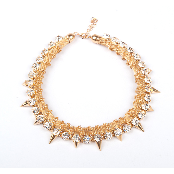 Gold Crystal Rivet Choker Necklaces Statement Rhinestone Spike Chunky Collar Necklaces Pendants Bridal Wedding Necklace Jewelry(China (Mainland))