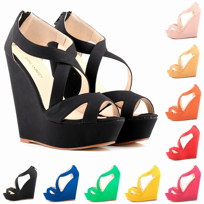 2015 new miffin wedge sandals women's high-heeled cross strap waterproof fish head sandals 9color(China (Mainland))
