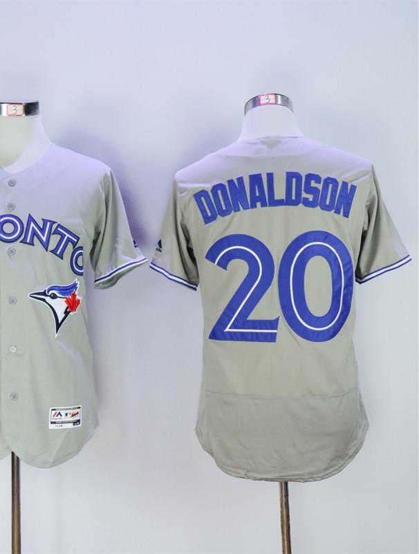 #20 Josh Donaldson Jersey White Blue Gray Red Cool Base Player Jersey(China (Mainland))