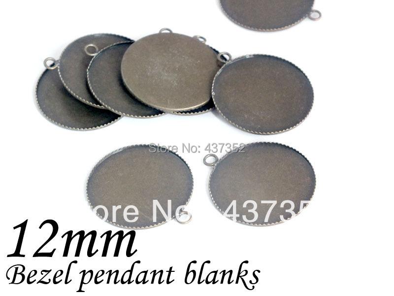 Free ship! 1000piece Antique bronze bezel blank pendant base, pendant tray 12mm cameo/cabochon setting