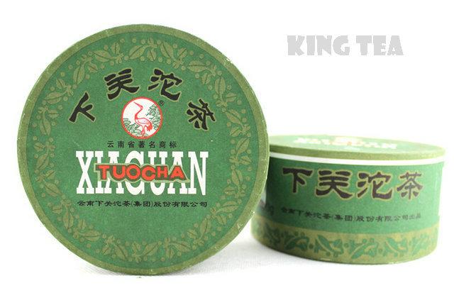 2009YR XiaGuan JiaJi Green Boxed Tuo Bowl 100g YunNan MengHai Organic Pu'er Raw Tea Weight Loss Slim Beauty Sheng Cha !(China (Mainland))