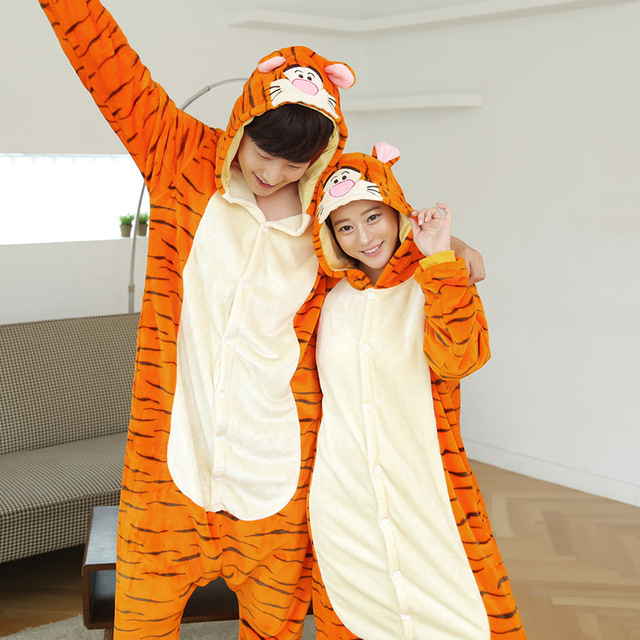 Косплей Kigurumi женщины и мужчины пижамы Onesies животные комплект пижамы тигра ...