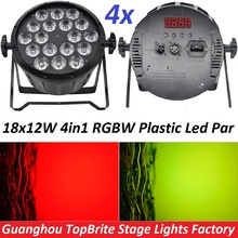 4xLot Good Quality Led Par Light Quad 18x12W 4in1 RGBW Beam Wash Dmx Par Can American Dj Plastic Led Flat Stage Lights Led Lamps(China (Mainland))