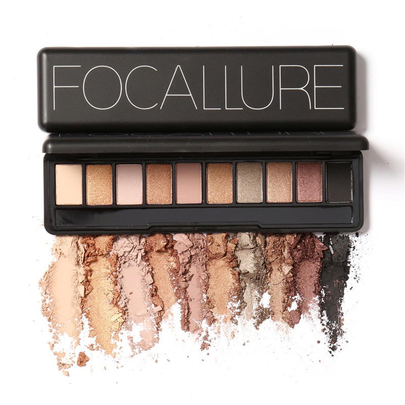 10 Colors Shimmer Matte Eyeshadow Palette Focallure Natual Naked Palette For Eye Cosmetics EY024(China (Mainland))