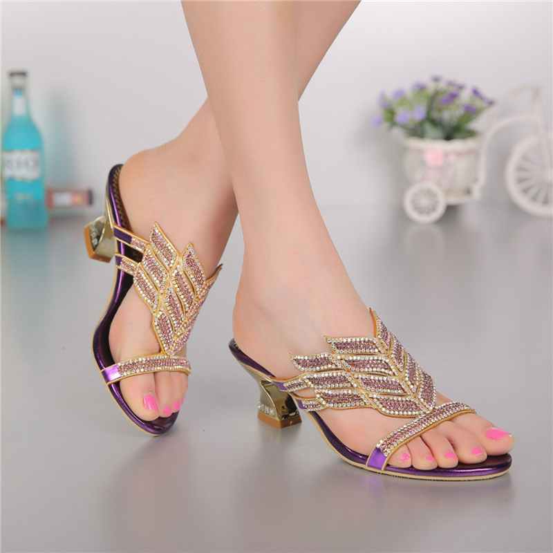 Фотография 2016 rhinestone sandals styles peacock high-heeled shoes thick thin wedges genuine leather rhinestone female sandals GS-T004VTC