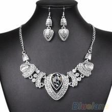 Wedding Women's Vintage Rhinestone Choker  Chain Necklace Earrings Jewelry Set 08TZ(China (Mainland))