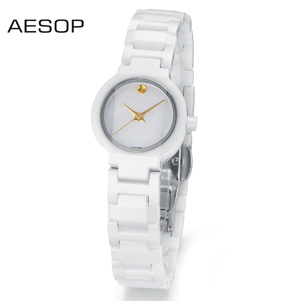 Aesop couple watch black and white ceramic luxury wristwatch quartz movement for women and men free shipping via DHL UPS MES